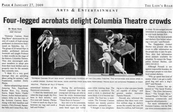 Columbia Theatre news article